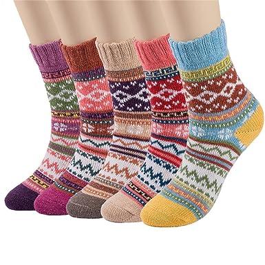 82adc1ddf6f Kfnire 5 paires femmes hiver style vintage tricoter des chaussettes  d équipage en laine chaude
