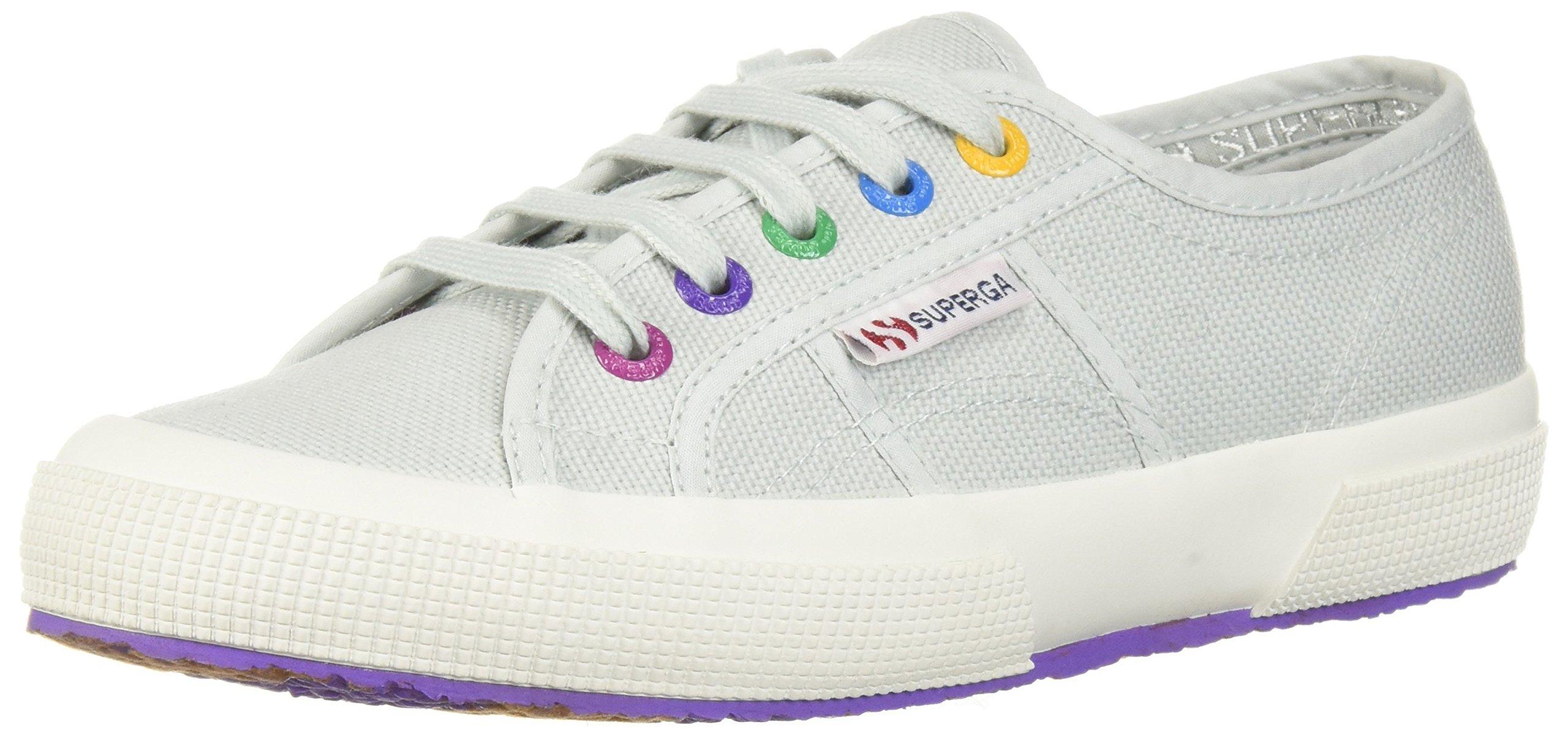 Superga Women's 2750 Multi Color Eyelets Sneaker, Alluminum, 37.5 M EU (7 US)