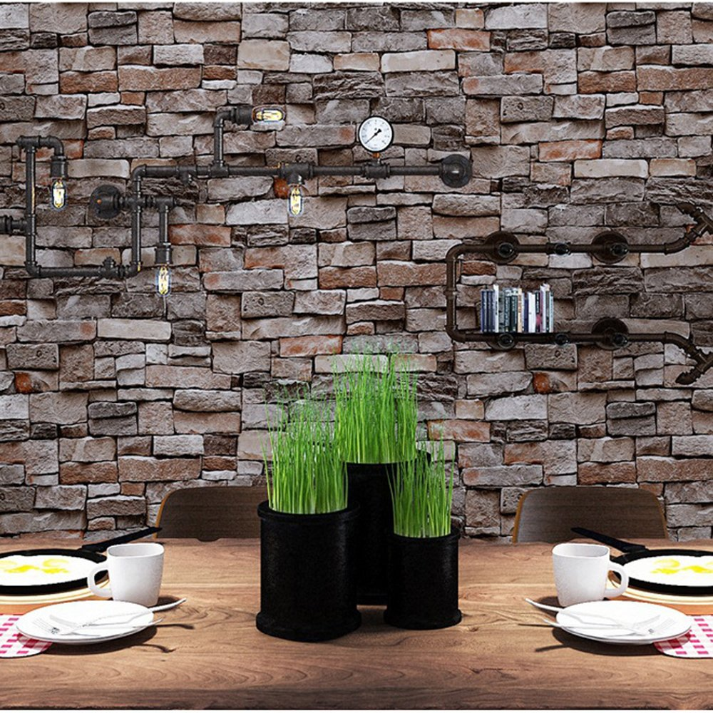 Brick Wallpaper, 3D Stone Textured, Removable and Waterproof for Home Design,Livingroom, Bedroom, Kitchen and Bathroom Decoration 20.8In x 32.8Ft, Gray/Brown/Black by Vopie (Image #2)