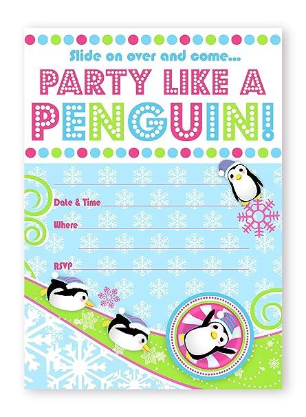 Amazon Com Penguin Party Invitations 10 Invitations 10 Envelopes