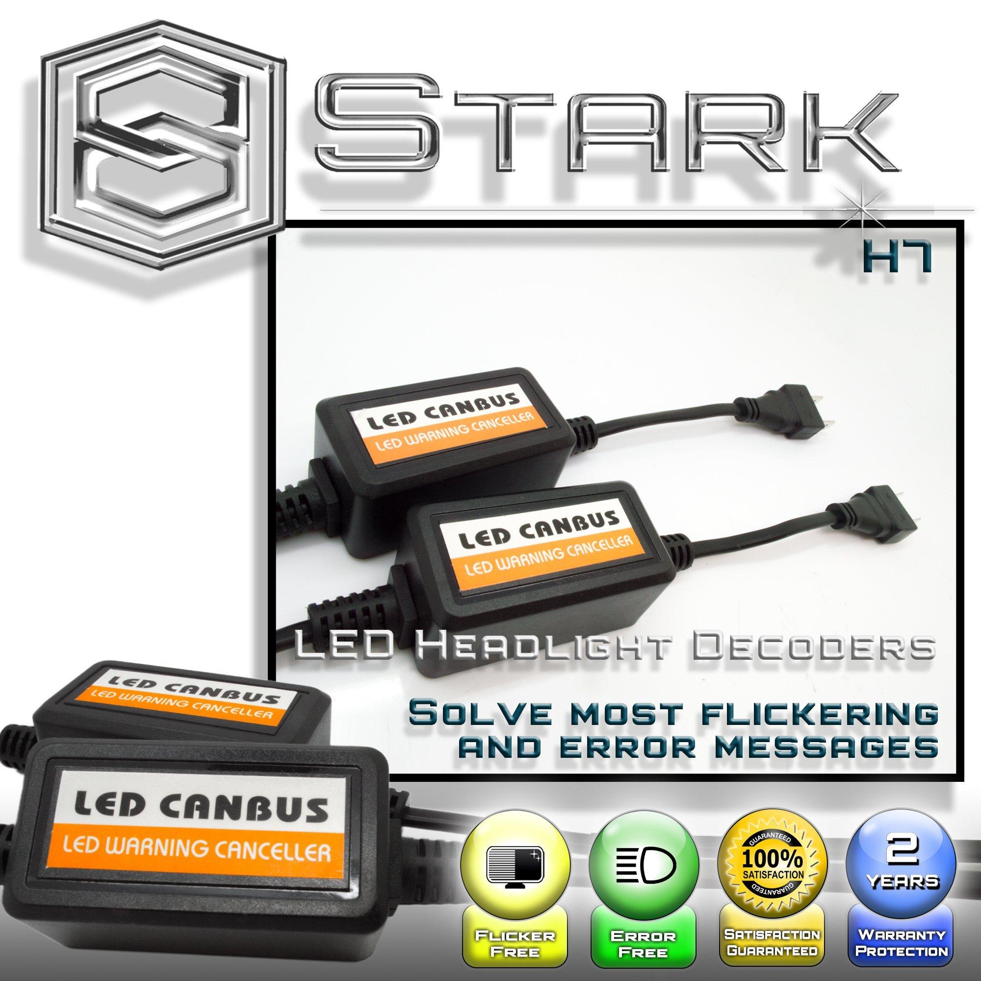 PAIR LED Conversion Kit Headlight Canbus Error Free Anti Flickering Resistor Decoder - H7