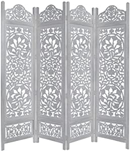 COTTON CRAFT Kamal The Lotus Antique White 4 Panel Handcrafted Wood Room Divider Screen 72x80, Intricately Carved on Both Sides Making it Fully Reversible, Highly Versatile. Hides Clutter, adds dÃcor
