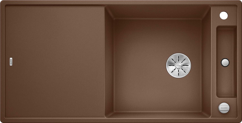 inklusiv Glas-Schneidbrett und Ablauffernbedienung; ; 523184 K/üchensp/üle aus Silgranit PuraDur reversibel Felsgrau // mit InFino-Ablaufsystem Blanco Axia III 45 S