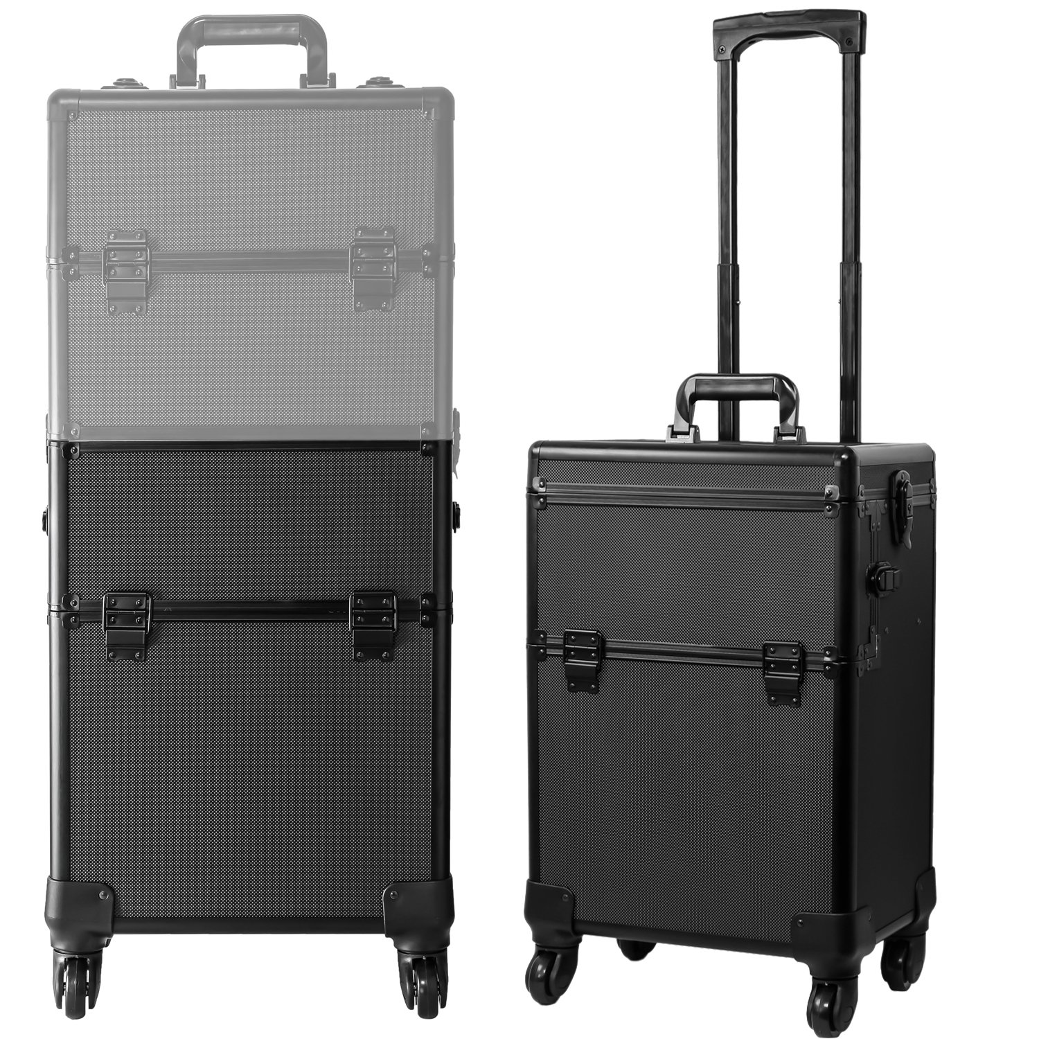 Koval Inc. 4-wheel Rolling 2in1 Makeup Train Cosmetic Case Black by KOVAL INC. (Image #7)