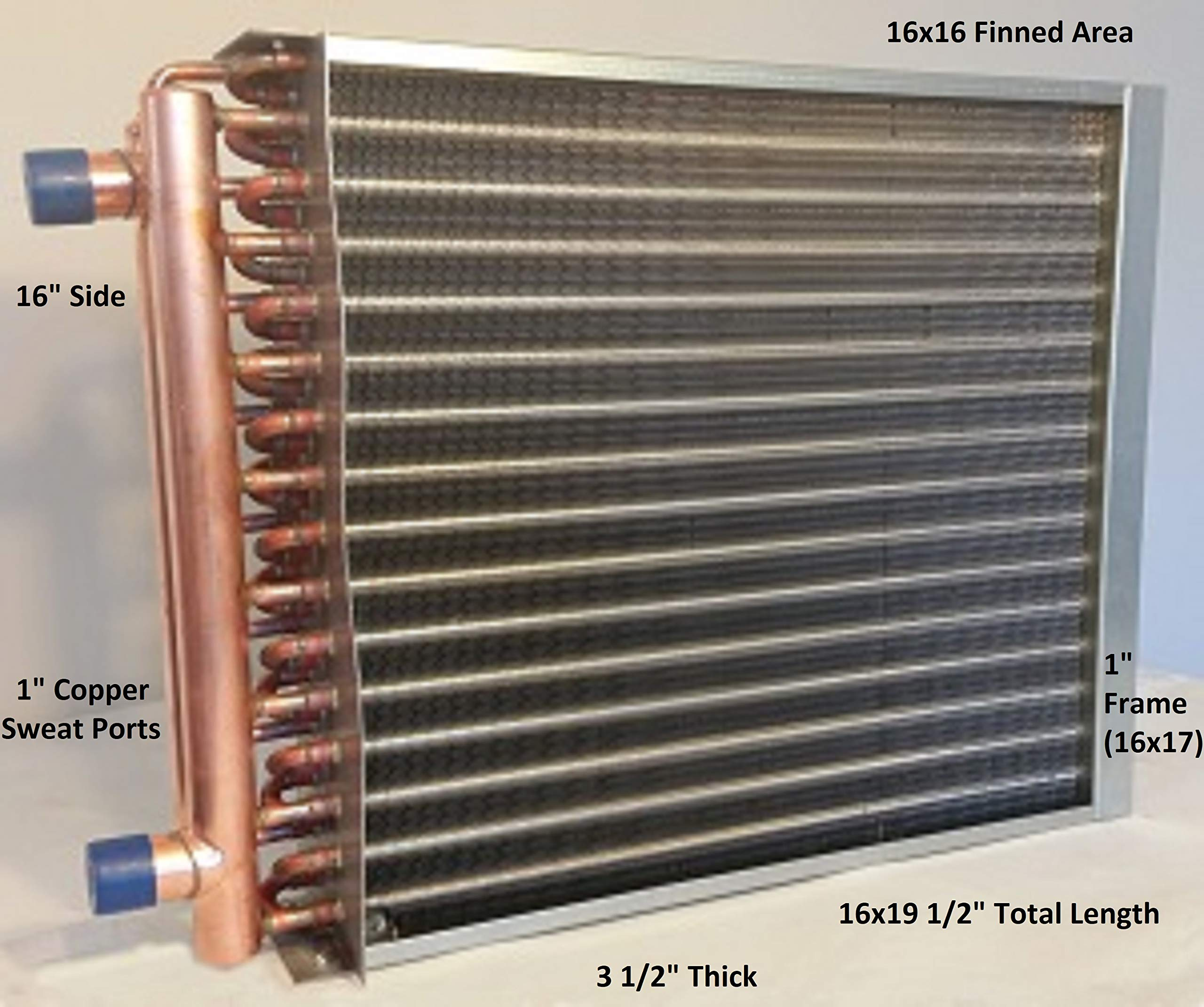 16x16 Water to Air Heat Exchanger~1'' Copper Ports w/EZ Install Front Flange