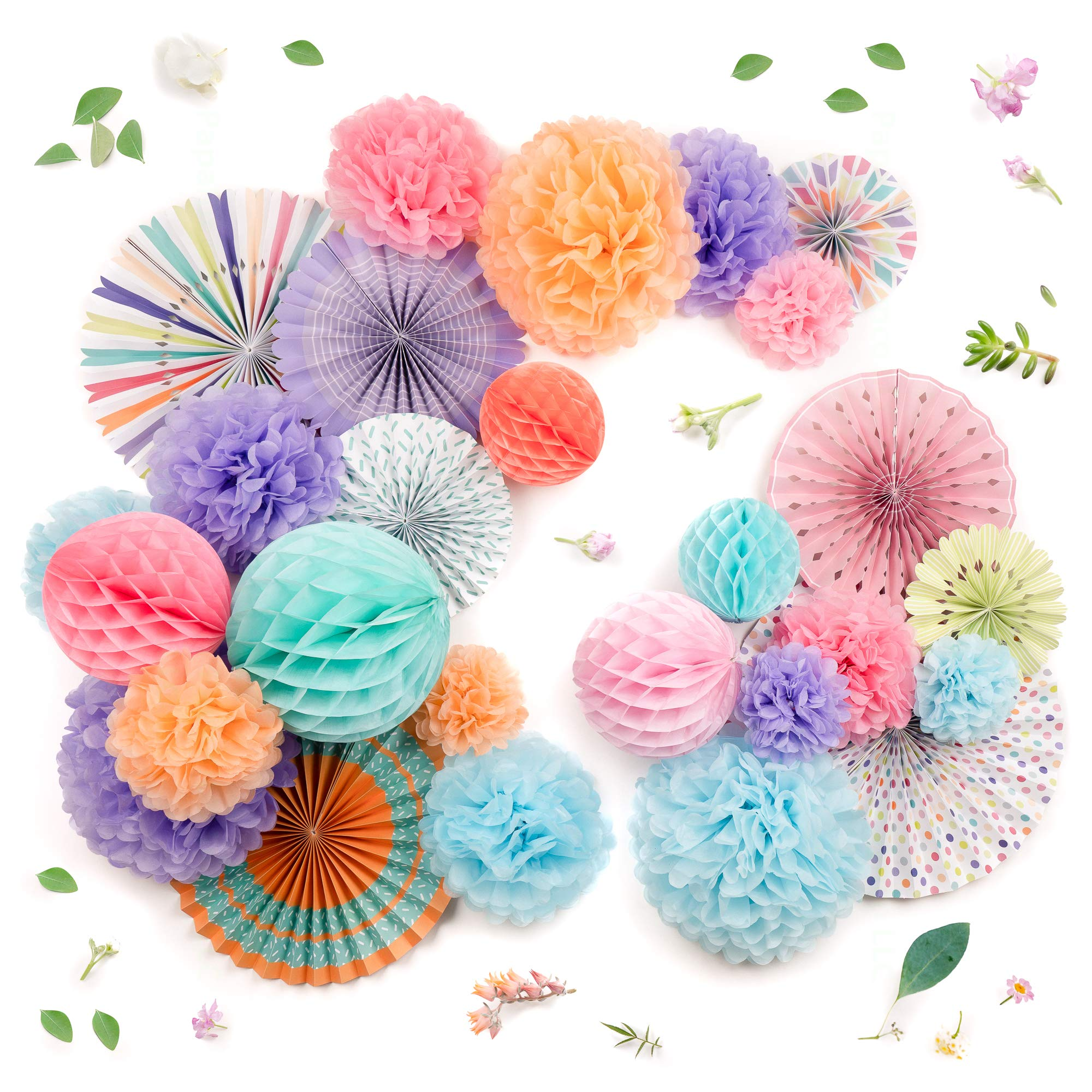 PapaKit Deluxe Origami Large Wall Decoration Set (26 Assorted Paper Fans & Pom-poms) Birthday Party Baby Shower Wedding Events Decor | Creative Art Design Pattern (Festive Colors, Deluxe 26 Piece Set) by PapaKit