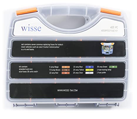 wisse 420 pcs assorted automotive fuses kit, standard and mini blade fuse  box set assortment