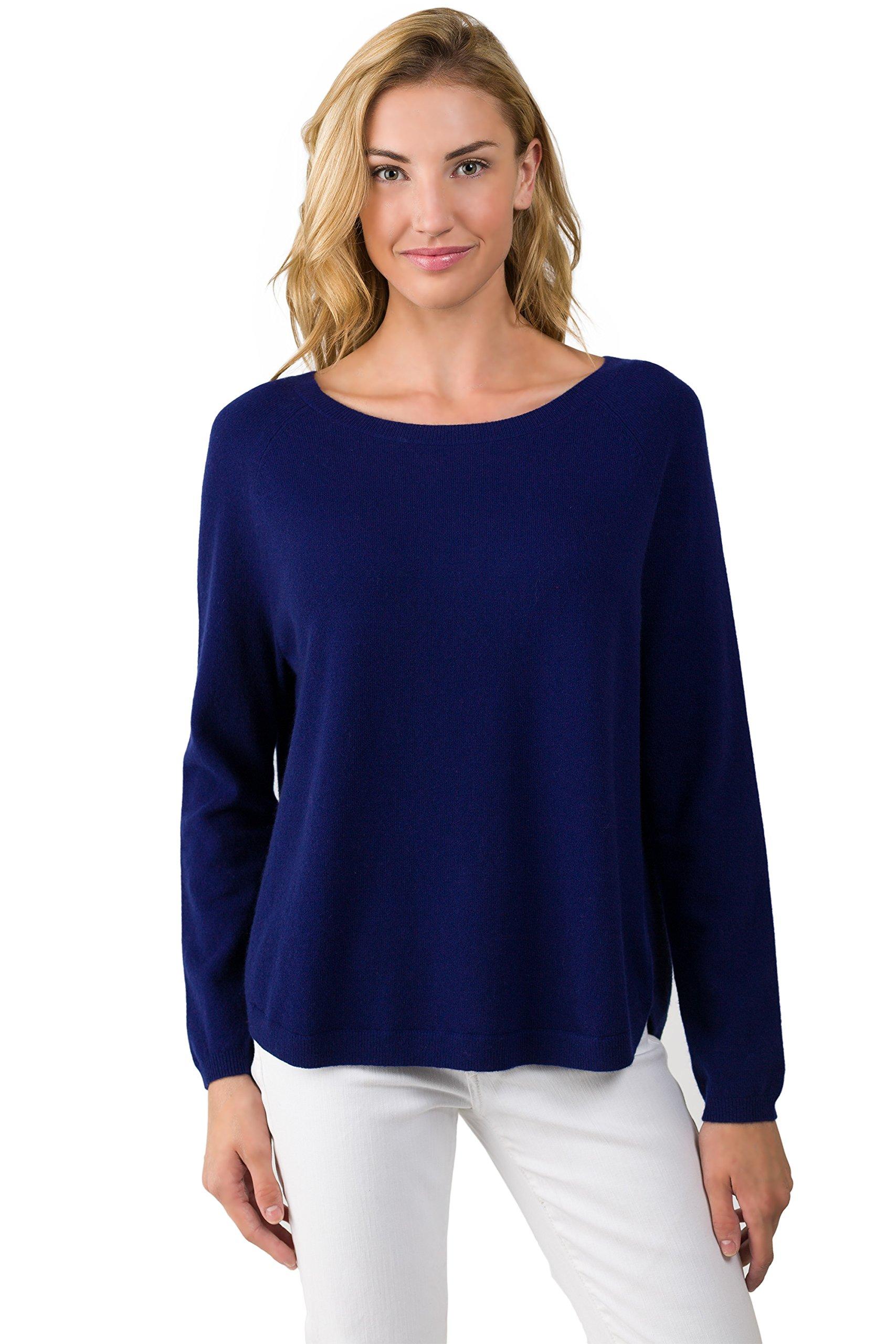 J CASHMERE Women's 100% Cashmere Oversized Long Sleeve Raglan Boatneck Sweater