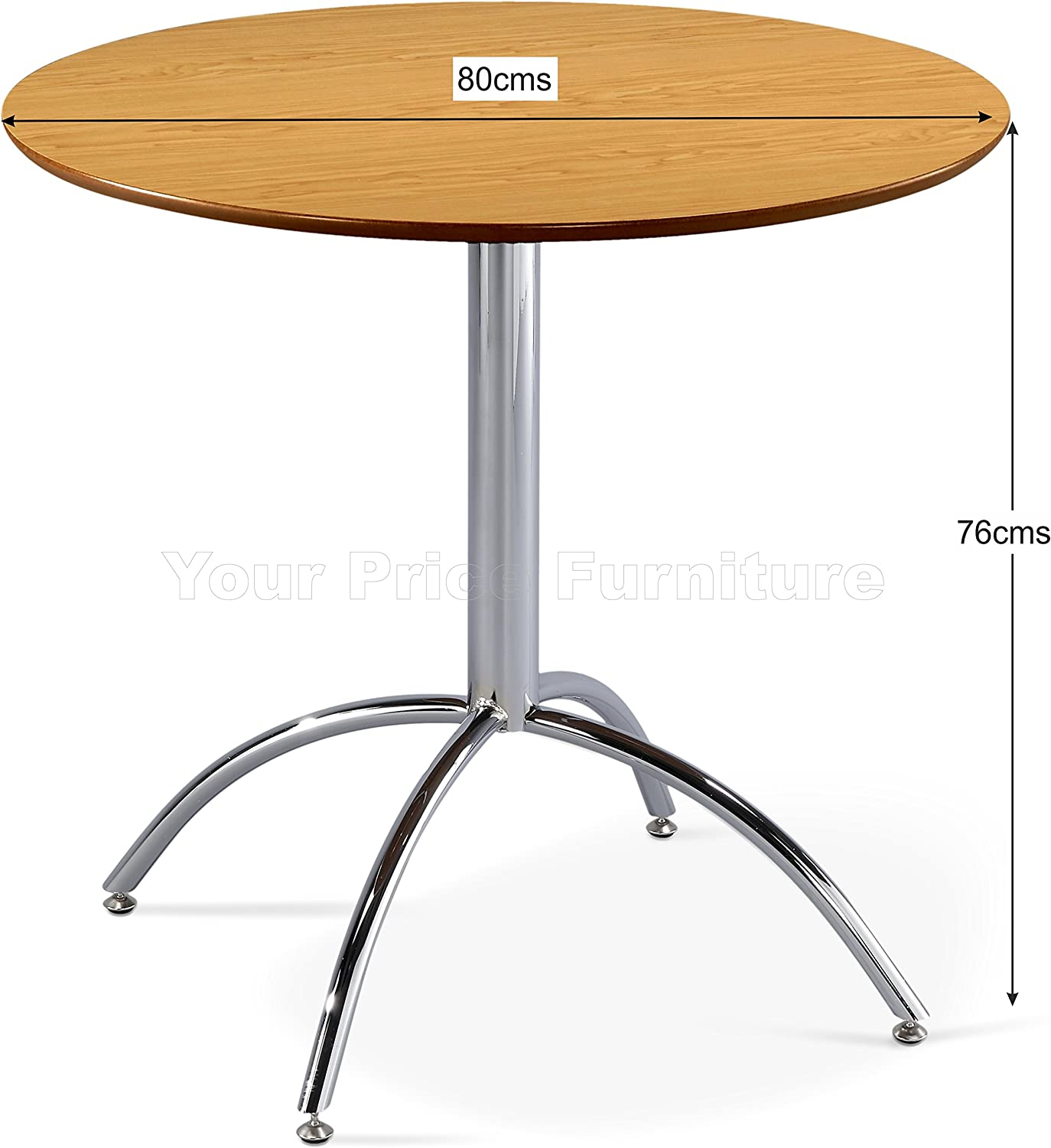 Kimberley Dining Table With Chrome Metal Legs - Kitchen Cafe Bistro Style Small Round Table Choice of White or Natural (White) Natural