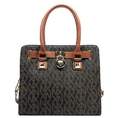 Noble Exchange NX Signature Print Padlock Tote Satchel Handbag (Brown)