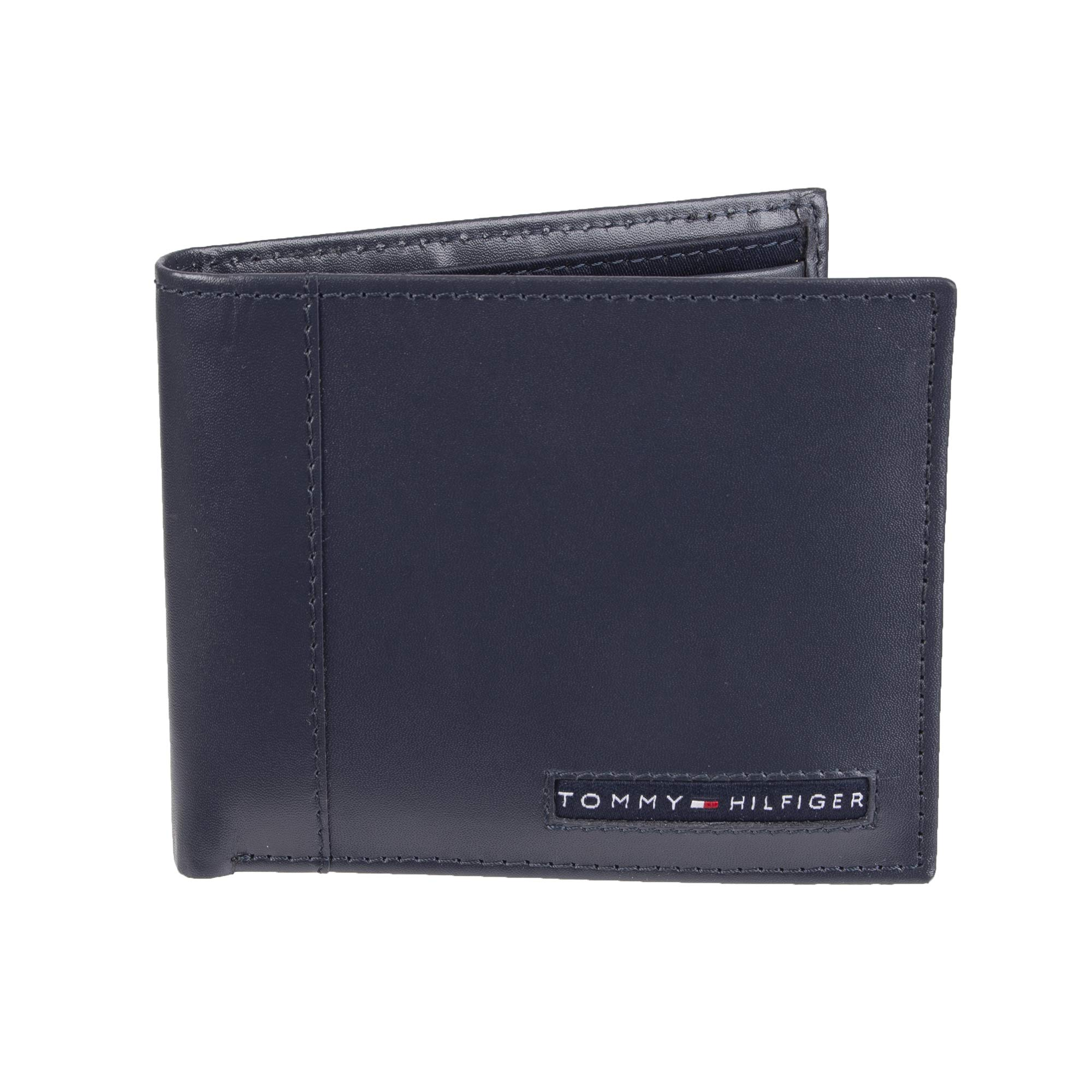 Tommy Hilfiger Men's Leather Wallet - RFID Blocking Slim Thin Bifold with Removable Card Holder and Gift Box, Navy Casual