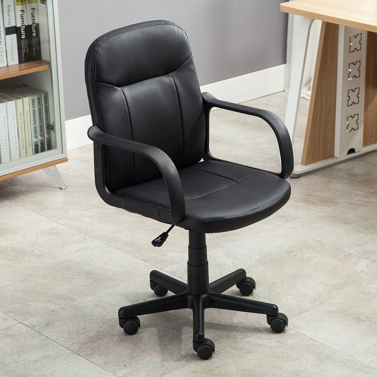 amazon com belleze mid back office chair pu leather ergonomic desk