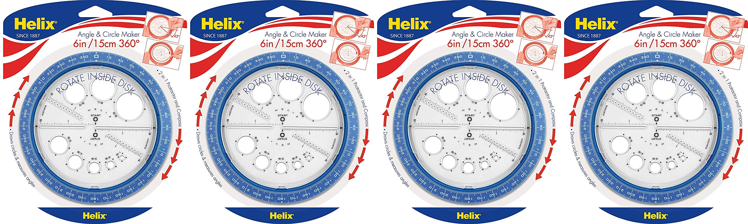 Helix 360° Angle and Circle Maker, Assorted Colors, 4 Pack