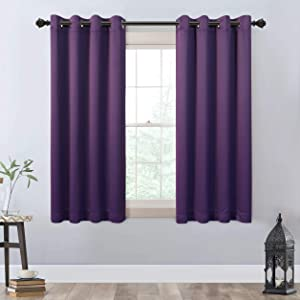 MYSKY HOME Blackout Curtains 63 Inch Length,Grommet Thermal Insulated Room Darkening Window Curtain for Bedroom,Living Room,Purple,2 Panels,52x63