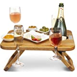 Kango Mango Portable Folding Wine and Champagne Picnic Table - for Wine Lovers, Stylish Mini Picnic Table for Outdoors, Events, Romantic Dinners, Beach, Camping - from Beautiful Mango Wood