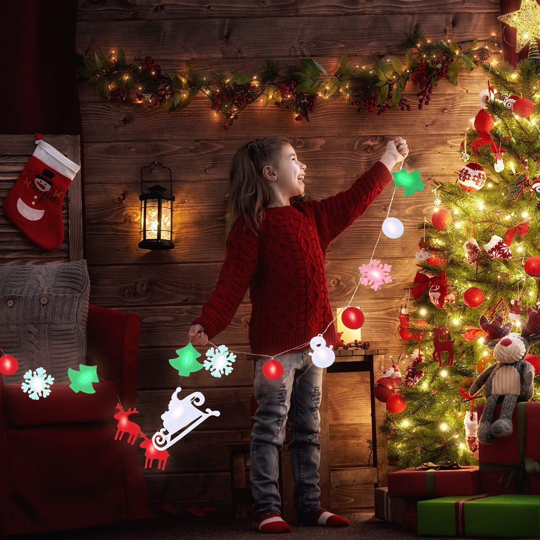 Ohuhu 2,2 m Luces Decorativas LED para árbol de Navidad, Chimenea, Decoraciones de la casa, Forma Linda de Papá Noel, Trineo, Alce y Copo de Nieve
