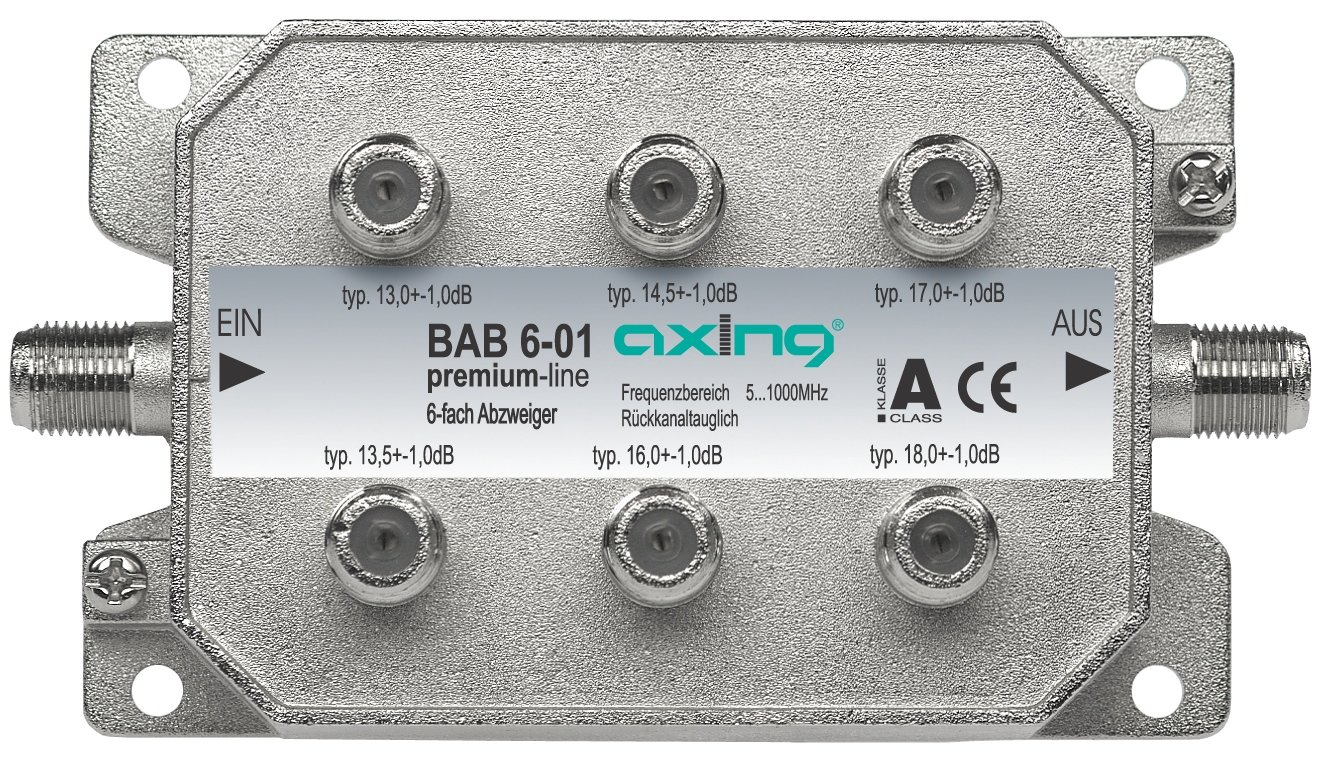 Axing BAB 6-01 6-Fach Abzweiger mit 13-18 dB Abzweigd/ämpfung 5-1000 MHz