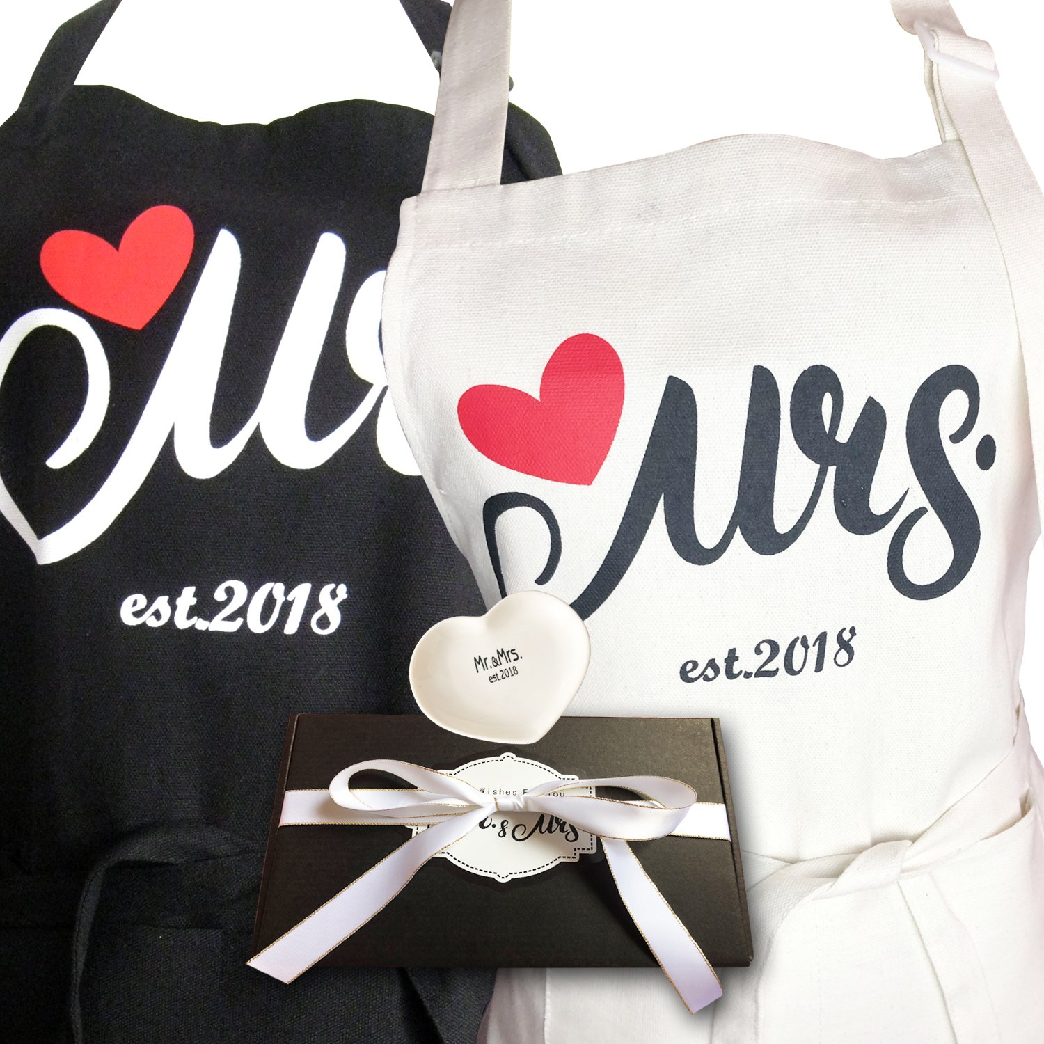 Aprons Gift Set With His and Hers Aprons,Heart-Shaped Ring Dish,Mr. and Mrs. Est. 2018 Kitchen Cooking Set With Gift Box, Funny Cooking Bibs for Wedding Marriage Newlyweds(Set of 2) (Heart) by NLooking (Image #1)