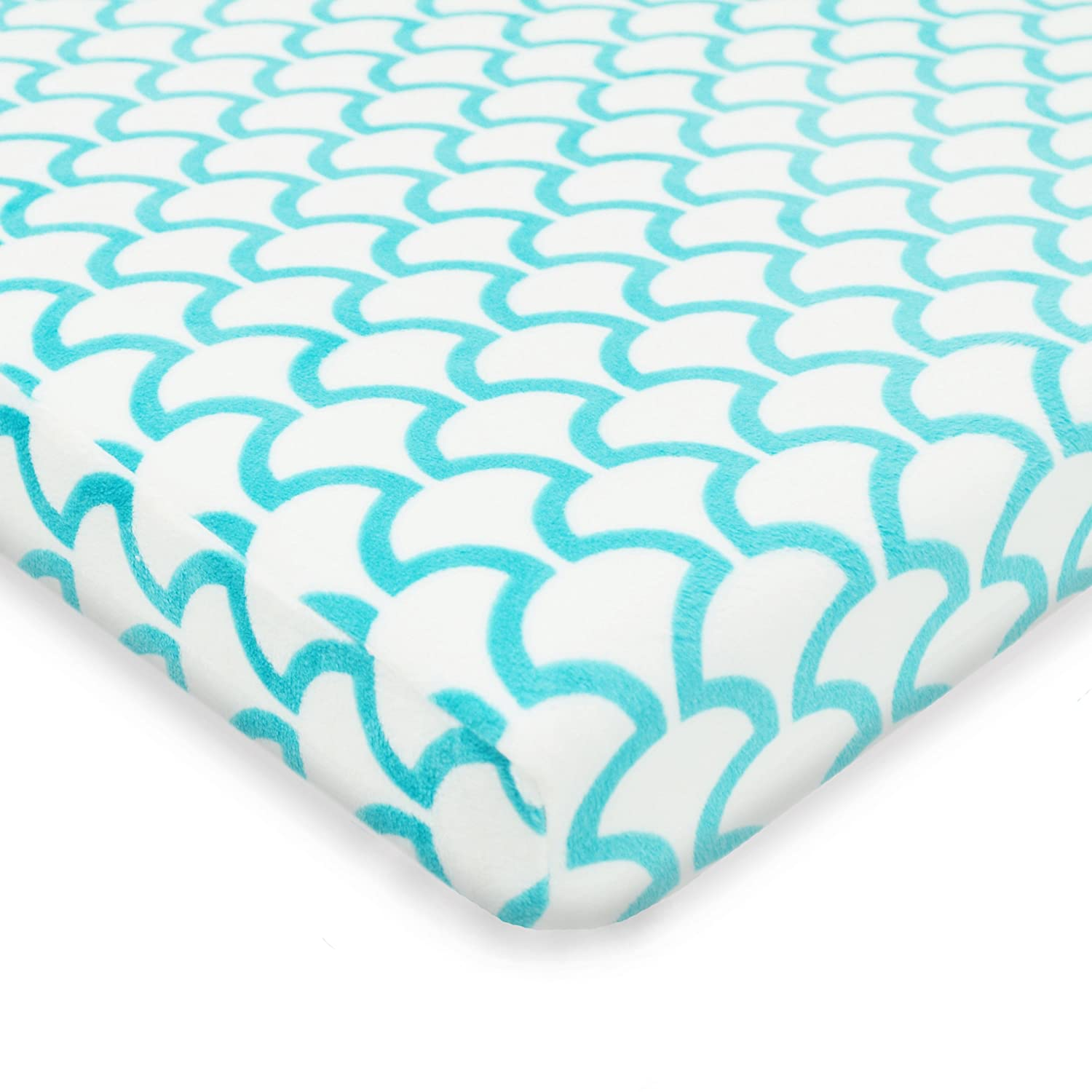 TL Care Heavenly Soft Chenille Fitted Pack 'n Play Playard Sheet, Aqua Sea Wave 4556 ASW