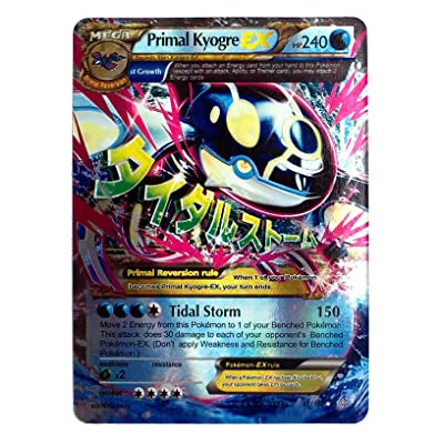 "Mega Primal Kyogre EX 55/160 English Card Normal Size 2.5"" x 3.5"" in Sleeve and Safe Box Flash Light Card Free 1 EX Random in Pack: Toys & Games"