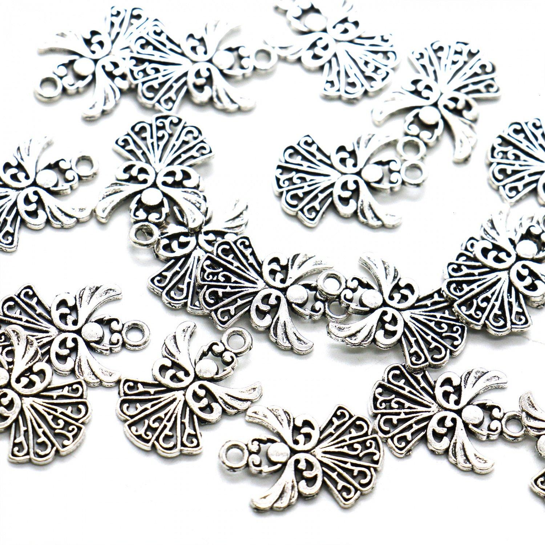 HUELE 50pcs Angel Charms Pendant, Tibetan Silver Guardian Angel for Jewelry Making, 20x14mm