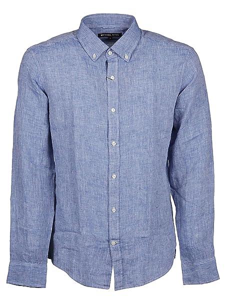 ad0fa665a6 Michael Kors Michael By Camicia Uomo Cs94ck84yt927 Lino Blu: Amazon.it:  Abbigliamento