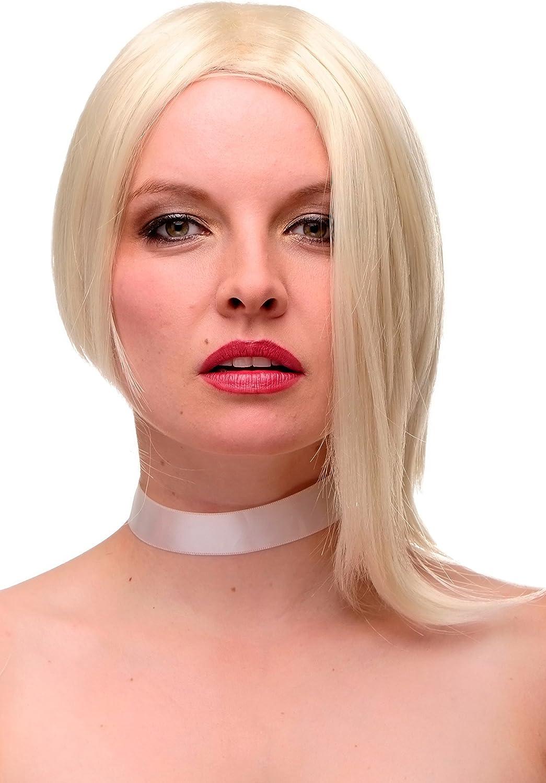 WIG ME UP- GF-W2202-613 Peluca mujer calidad corto Bob partido osado asimétrico rubio claro platino 35 cm