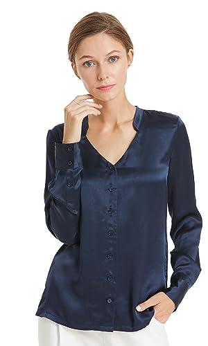 Lilysilk Camisa Mujer 100% Seda de Mora Natural Escote Muesca