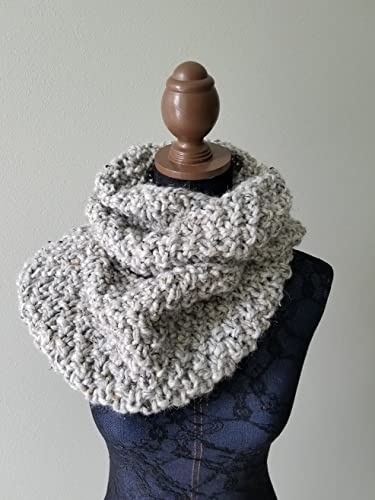 Amazon Knitted Large Cowl Infinity Scarf Handmade In Gray