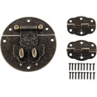 HALJIA Vergrendelingsslot, antiek retro-design, voor meubels, sieraden, slot, 2 scharnieren met schroeven, bronskleurig.