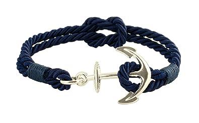Geralin Gioielli Bracelet pour homme bleu marine avec ancre en argent et  n\u0026oelig;ud marin