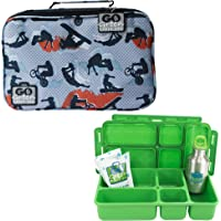 Go Green Lunch Box Set • 5 Compartment Leak-Proof Lunch Box • Insulated Carrying Bag • Beverage Bottle • Gel Freezer…