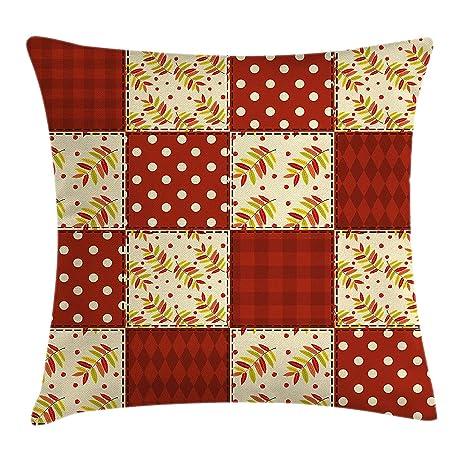 Cabin Decor Throw Pillow Cushion Cover, Patchwork Autumn ...