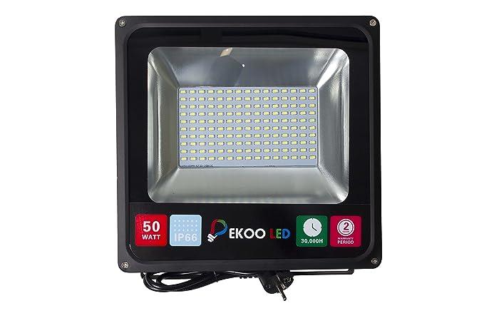 Grg® Foco Led para exterior 50 W, luz blanca fría, IP65, 6500 K, luz Led ...