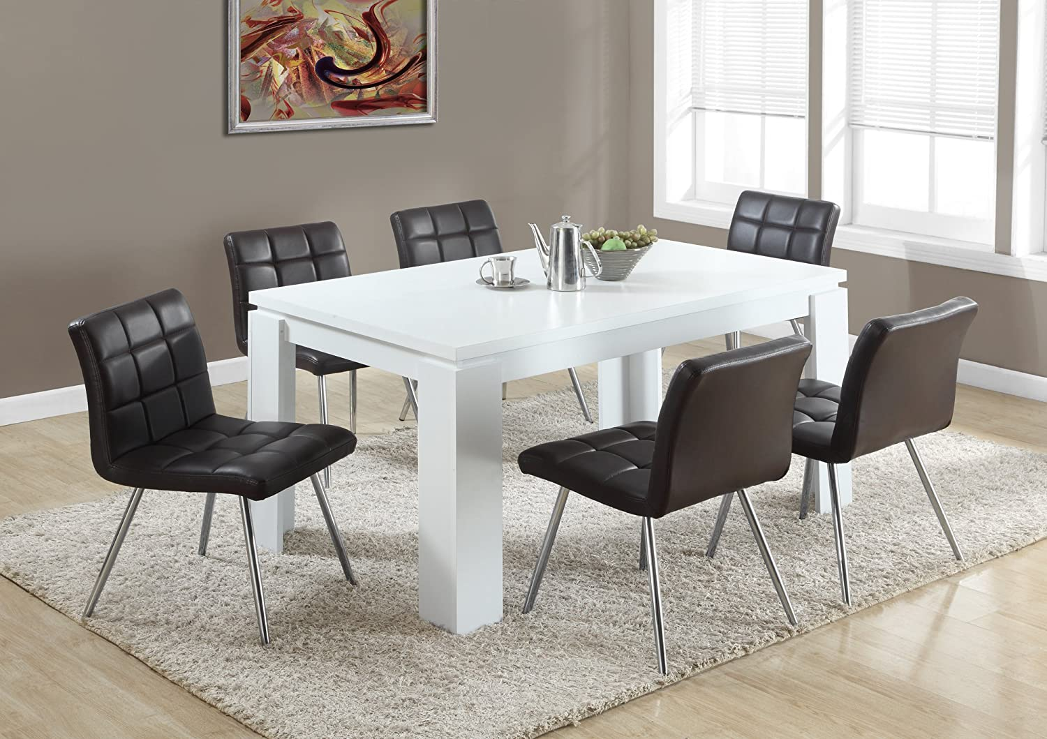 Dining Table Monarch Specialties 60L White Hollow-Core