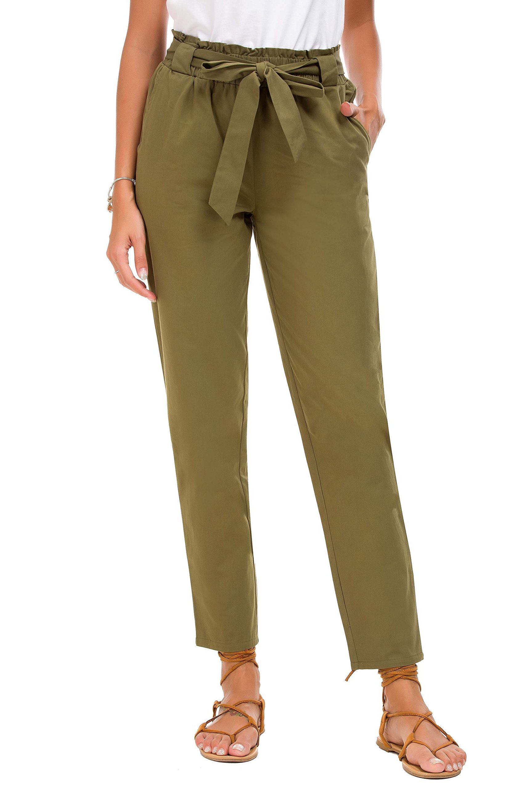 Feraco Women's Casual Stretch High Waisted Pants Tapered Pencil Ankle Pant with Bow Tie, Green Medium