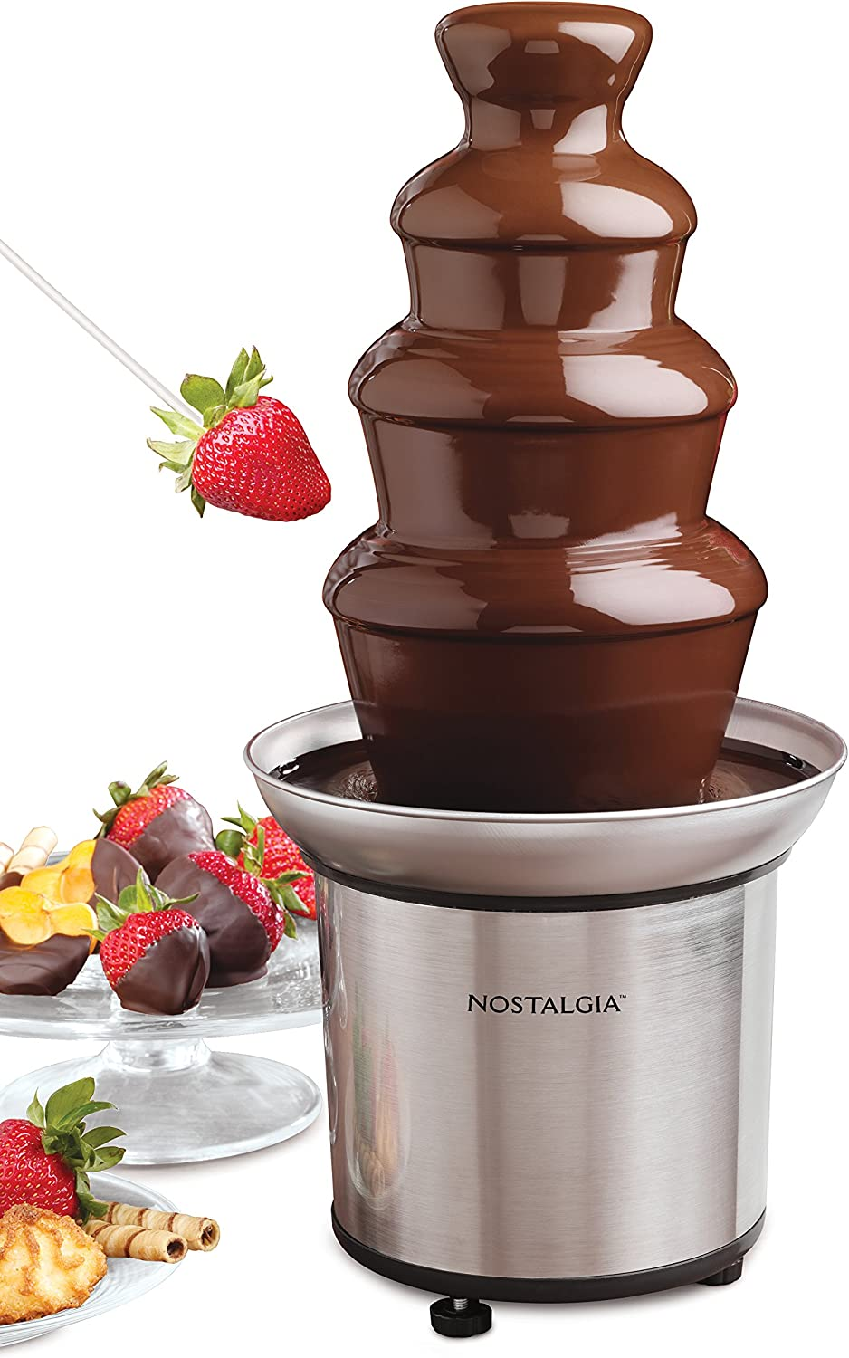 Nostalgia Cff986 32 Ounce Stainless Steel Chocolate Fondue Fountain 2 Pound Capacity Easy To Assemble 4 Tiers Perfect For Nacho Cheese Bbq Sauce Ranch Liqueurs Home Kitchen
