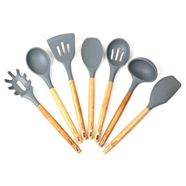 Lively Home Goods 7-Piece Premium Silicone Kitchen Cooking Utensils Set with Natural Bamboo Handles - Cooking Tool and Kitchen Gadget Set for Nonstick Cookware - Grey