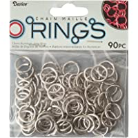Darice 90 Piece Chain Maille Aluminum Jump Rings, 15mm, Silver Armor