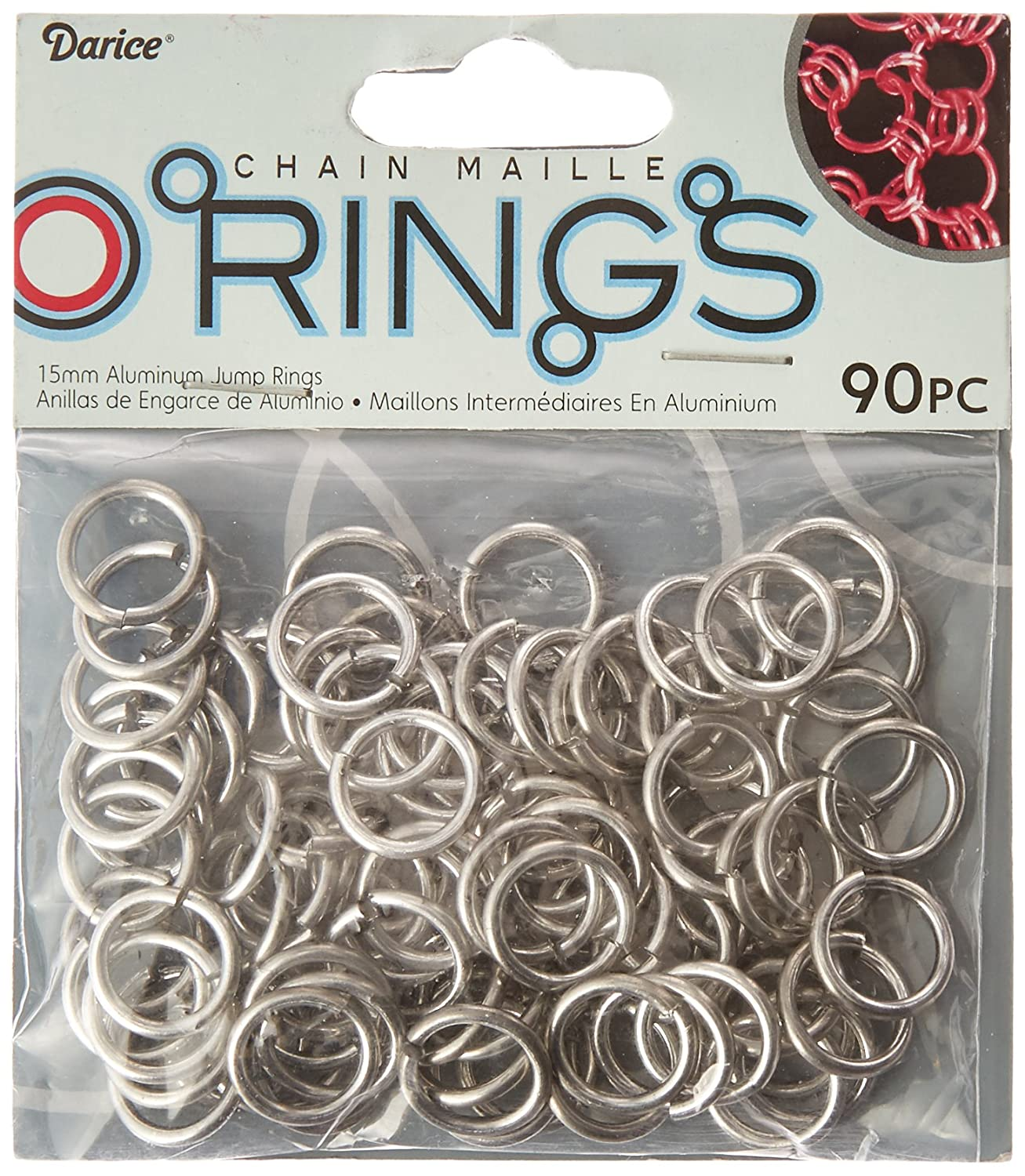 Darice 90 Piece Chain Maille Aluminum Jump Rings, 15mm, Silver Armor BG1042