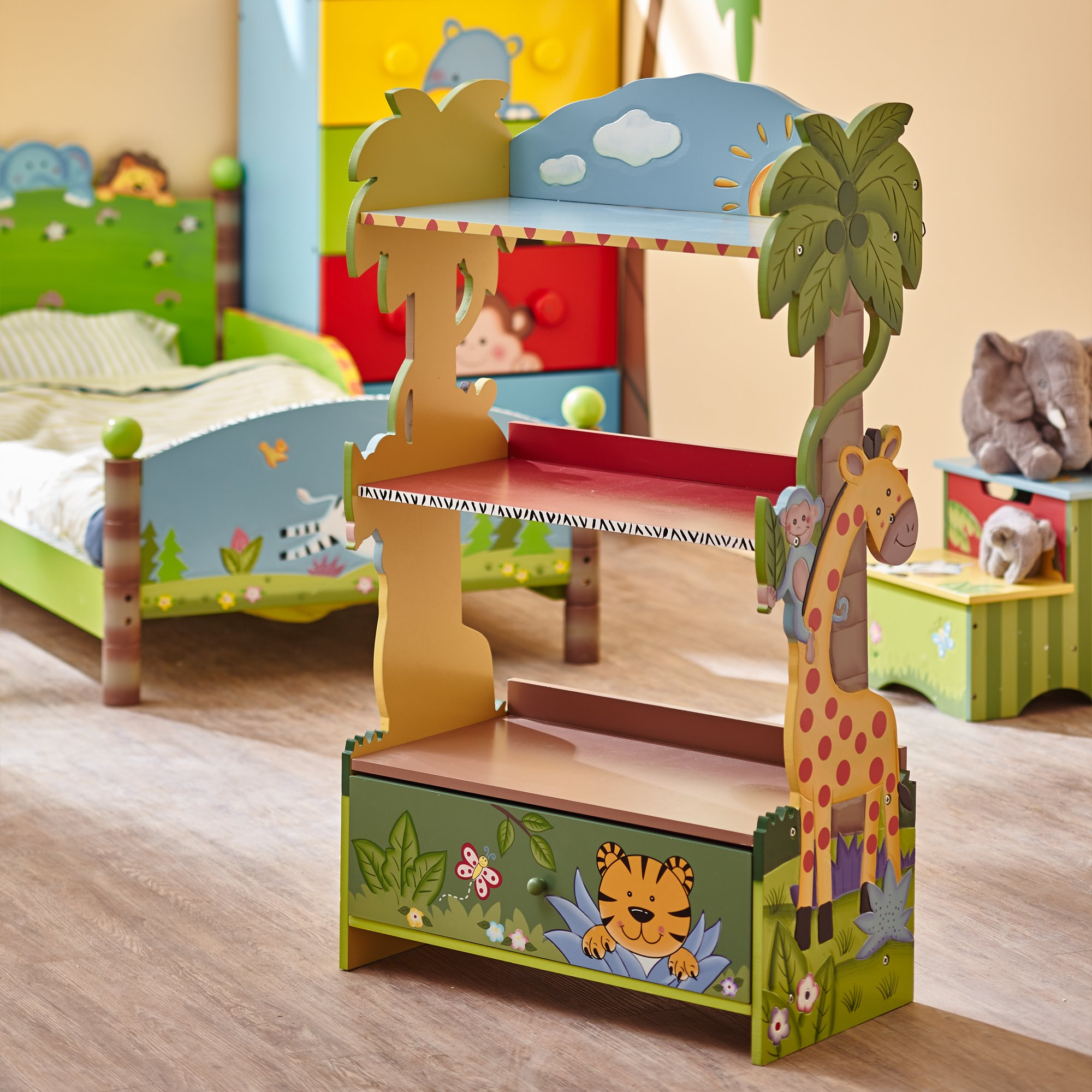 Fantasy Fields W-8268A  Sunny Safari Hand Crafted Kids Wooden Bookshelf, Green, 21.9 x 11.5 x 38