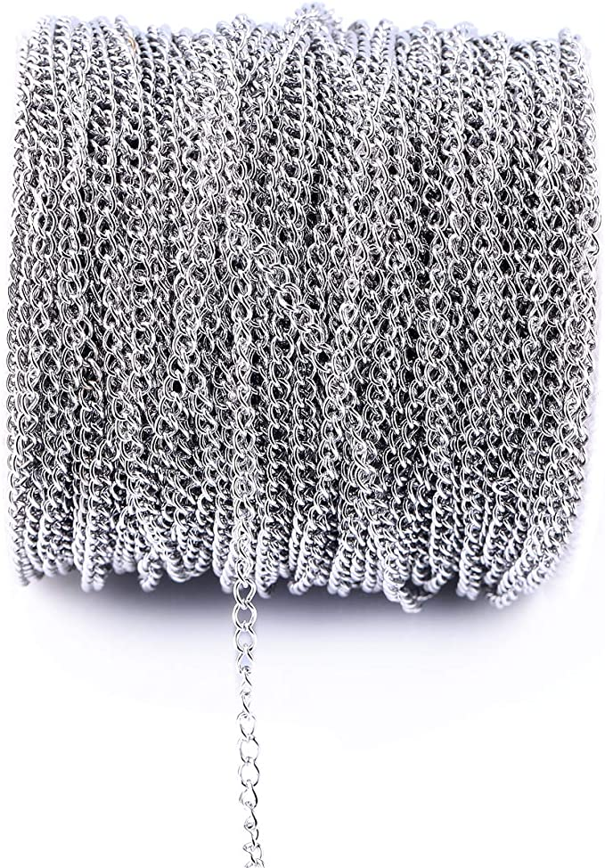 Basic Jewelry Supply Twisted Necklace Chain Silver Color Unwelded 3x1mm Chain Bulk Lot 10 Meters 304 Stainless Steel Curb Chain