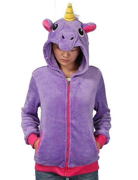 size 40 05170 04131 Felpa con Cappuccio Cosplay Unicorno Costume Animali con Orecchie Invernali  Hoodie Hoody Giacca Pelliccia Calda Donna Ragazza (L, Viola)