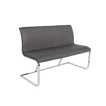 Elegante Design Sitzbank HAMPTON grau 130cm mit Rückenlehne ...