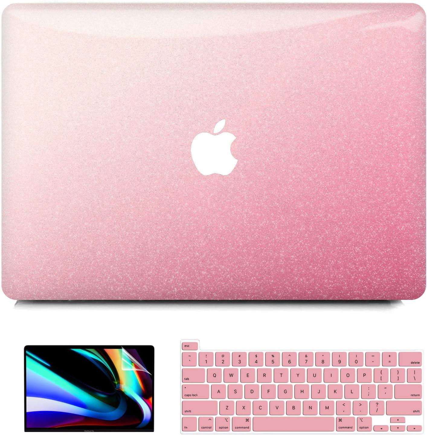 iPAPA MacBook Pro 13 inch Case 2020 Release A2338 M1 A2251 A2289 2019 2018 2017 2016 A2159 A1989 A1706 A1708,Glittery Plastic Hard Cover + Keyboard Cover + Screen Skin Touch Bar, MacBook Pro 2020 Case