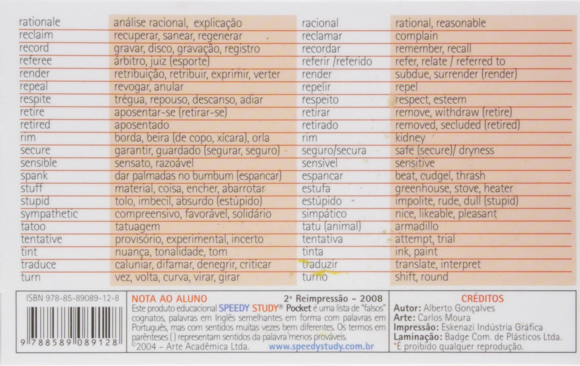 140 Falsos Cognatos Médio (Inglês-português / Português-inglês) : 9788589089128: Amazon.com: Books