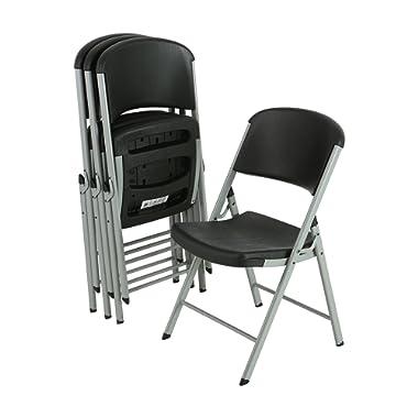 Lifetime 80407 Classic Commercial Folding Chair (Black) 4-pk