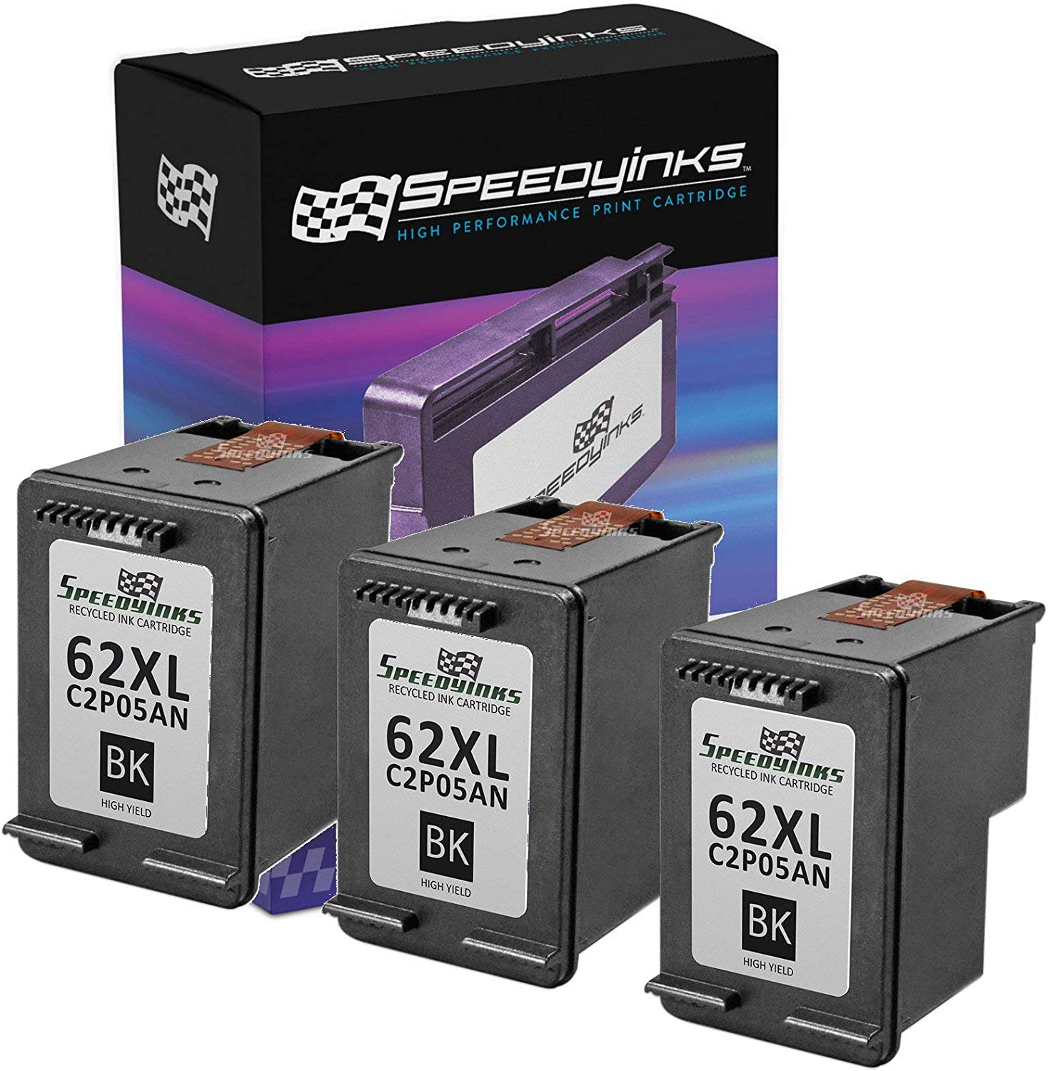 Speedy Inks Remanufactured Ink Cartridge Replacement for HP 62XL C2P05AN High Yield (Black, 3-Pack)