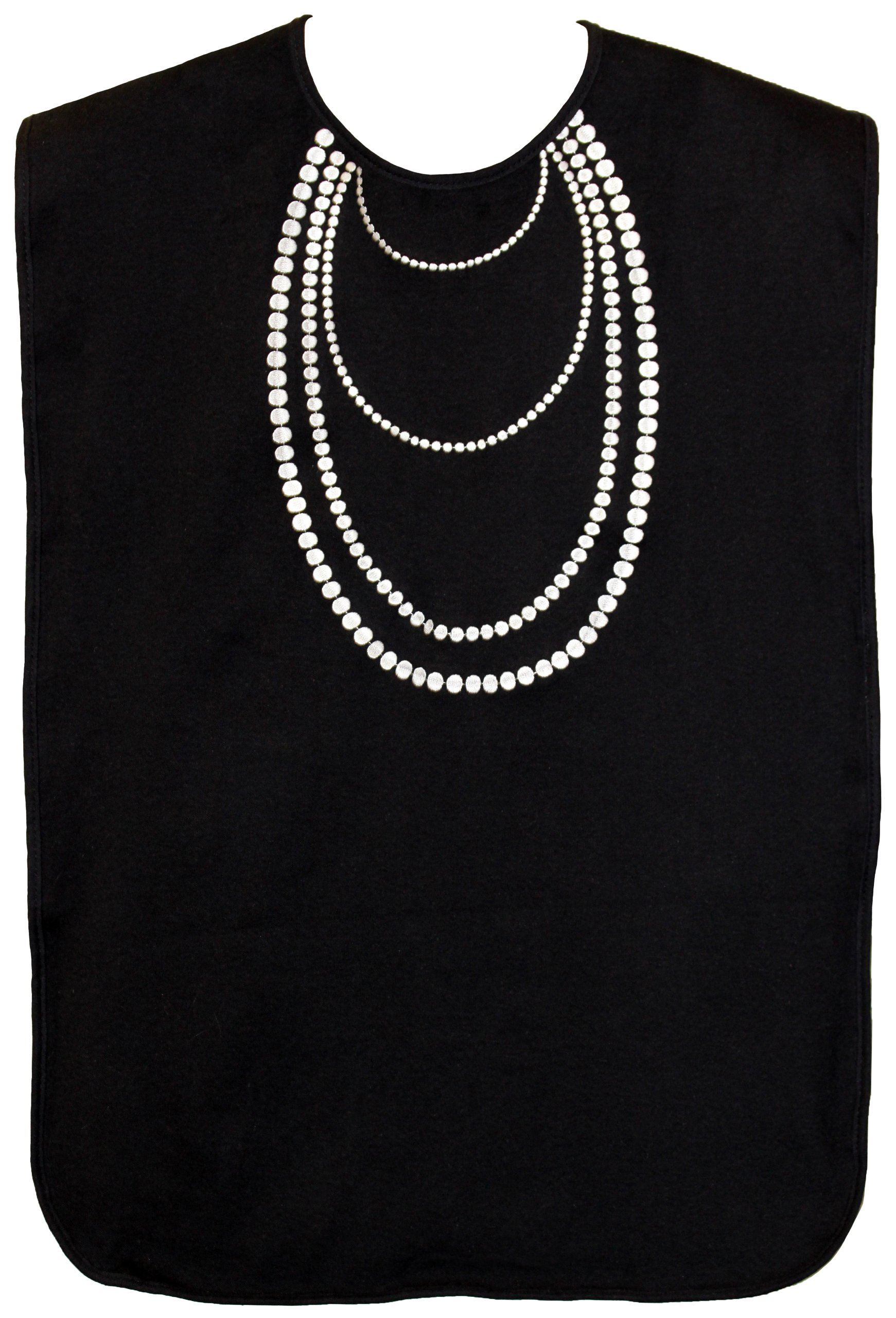 Ladies Waterproof Adult Bib, Black with White Pearl Embroidery, Frenchie Mini Couture