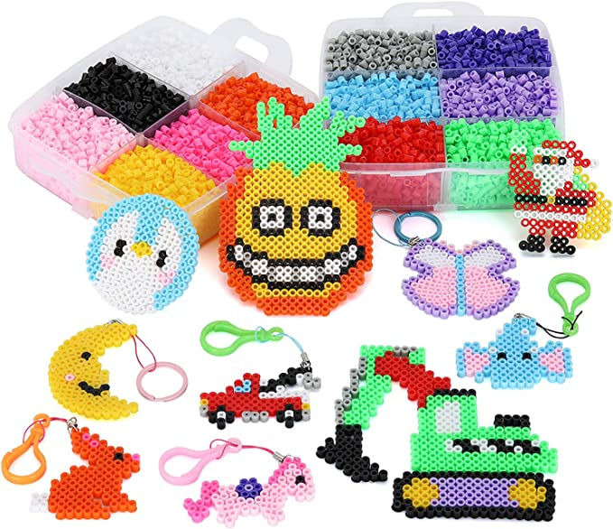 Ironing Paper /& Chain Accessories Iron Beads Christmas Birthday Gift Fuse Beads Kit 11,000 pcs 36 Colors Fuse Beads Craft Set for Kids Including 5 Pegboards